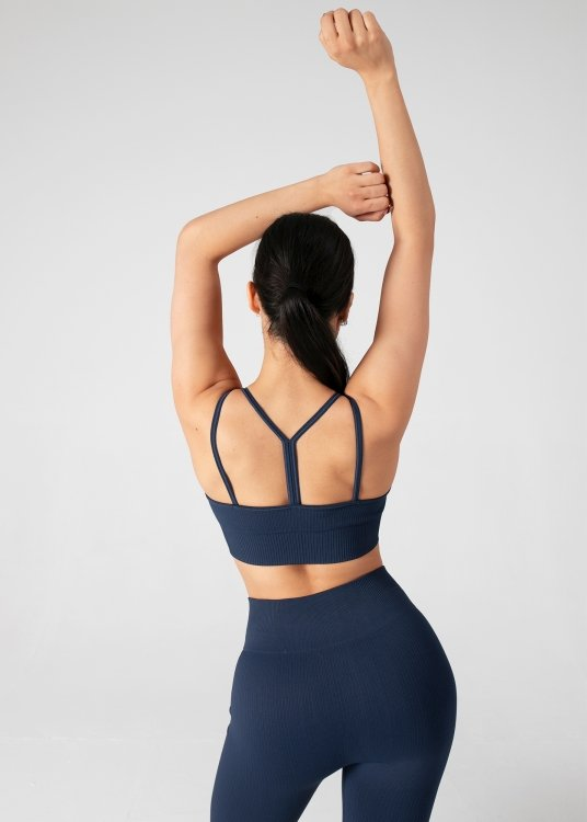 BEZSZWOWY BRA TOP FREEDOM RIBBED Z MISECZKAMI (NAVY BLUE)