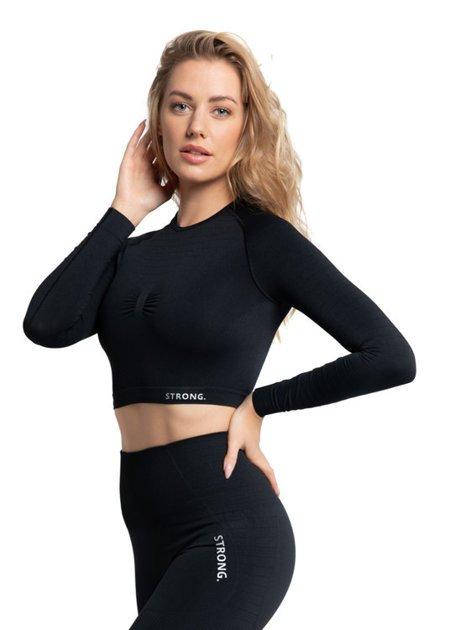 BEZSZWOWY CROP TOP BREEZE. BLACK