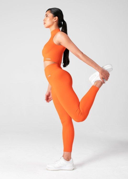 Legginsy Bezszwowe Freedom Ribbed. Neon Orange.